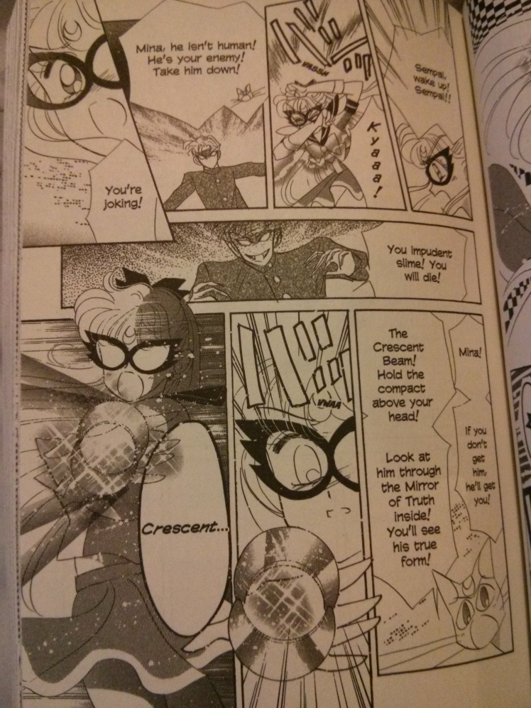 """Minako as Sailor V in her first battle against the enemy in the form of her high school """"crush"""" (Scan taken via my camera phone)"""