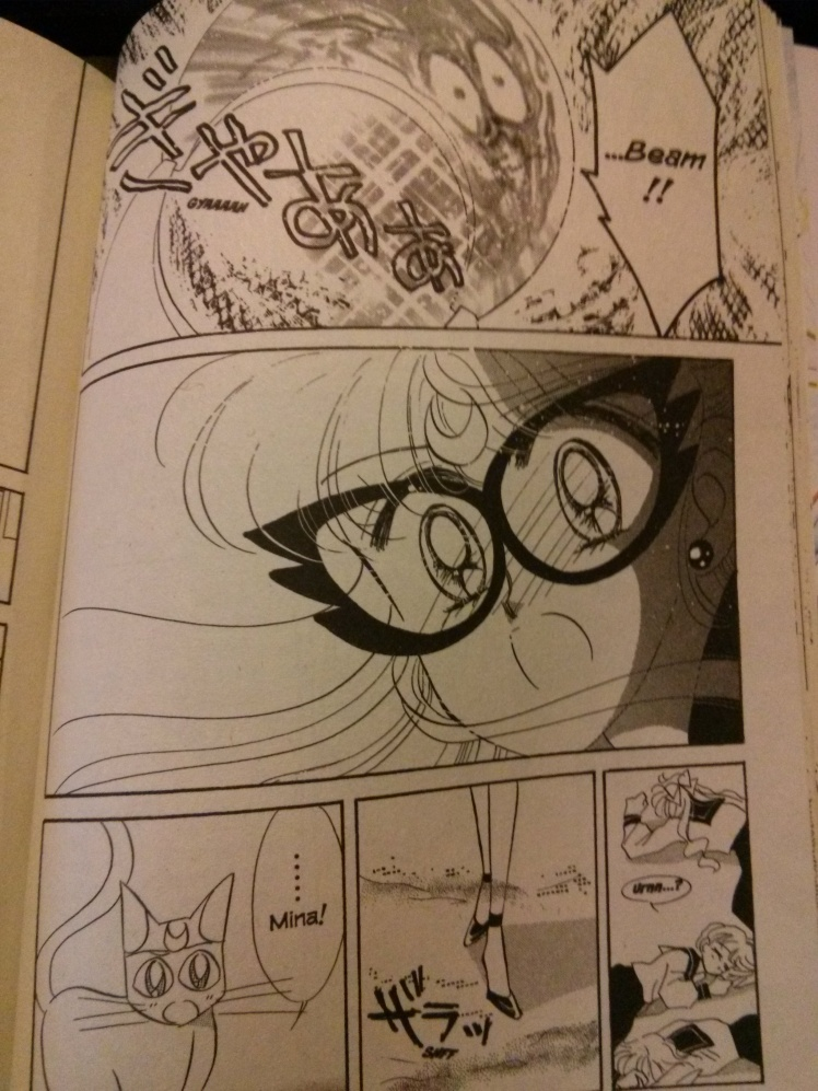 Minako's shock over having disintegrated a guy she thought was a real human being (Scan taken via my camera phone)
