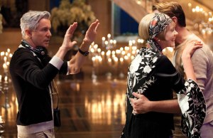 Baz Lurhmann on the set of The Great Gatsby with Leonardo DiCaprio & Carey Mulligan