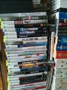 Just some of the piles of games I need to finish to completion. There's maybe at least 3 or 4 games out of that pile that's already done.