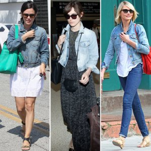 The many ways to wear denim. Cameron Diaz manages to make matching denim look good.