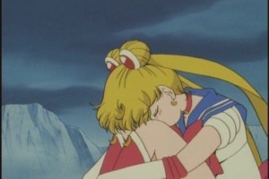 Sailor Moon mourning the loss of her friends and having a difficult time finding the strength to keep going.