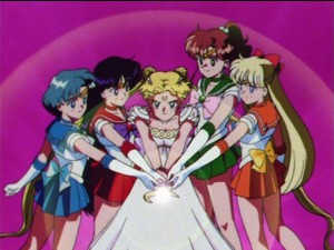 Princess Serenity getting a little help from her friends.