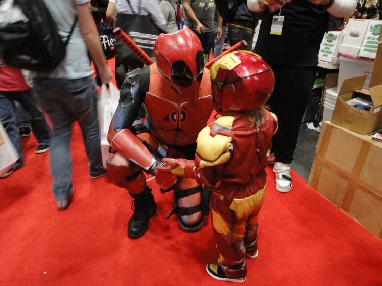 The cosplays I saw on Day 1. This is about the cutest interaction I ever saw. Deadpool talking superhero stuff with a mini-Iron Man!