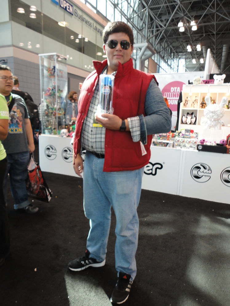My friend dressed as Marty McFly to score the free Pepsi bottle he's posing with.