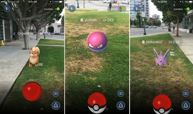 An example of how the augmented reality of Pokemon Go works. Photo credited to TheVerge.com.