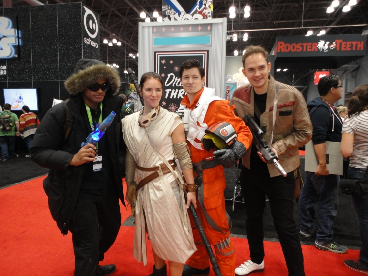 Captain Cold with Rey, Poe, and Finn.