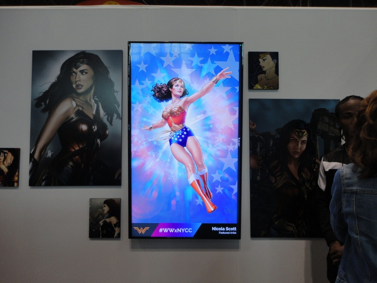A booth featuring the art of Wonder Woman.